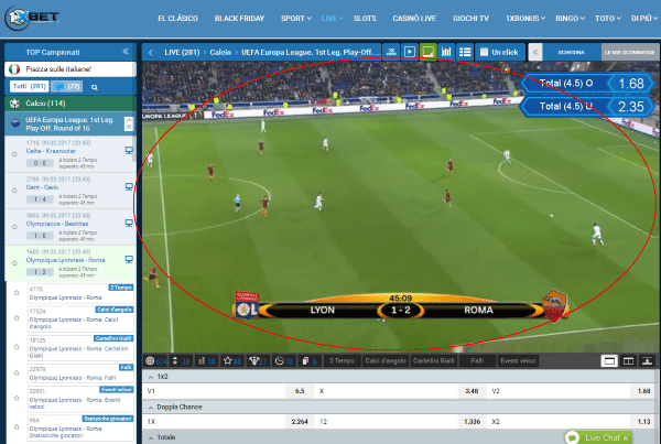 1xbet streaming calcio